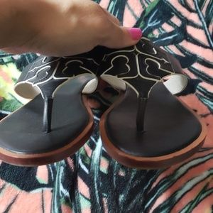 Tory Burch Shoes - TORY BURCH Black White Sandals Size 5